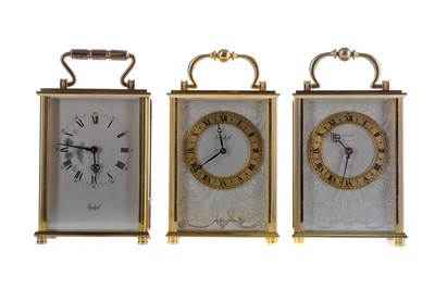 Lot 1835 - A MID 20TH CENTURY CARRIAGE CLOCK AND TWO OTHERS