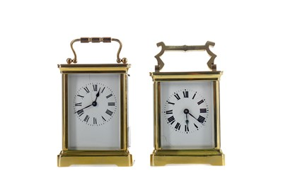Lot 1854 - AN EARLY 20TH CENTURY CARRIAGE CLOCK, ALONG WITH ANOTHER