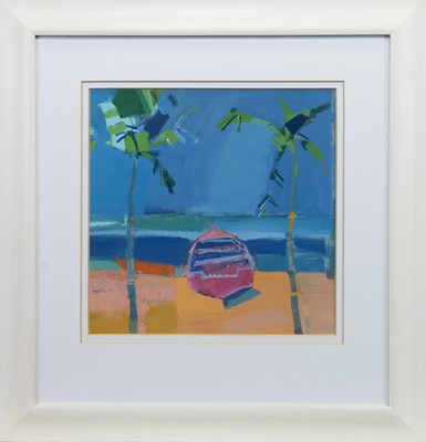 Lot 555 - PALMS. AN ACRYLIC BY CLAIRE HARRIGAN