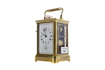 Lot 1868 - AN EARLY 20TH CENTURY REPEATER CARRIAGE CLOCK