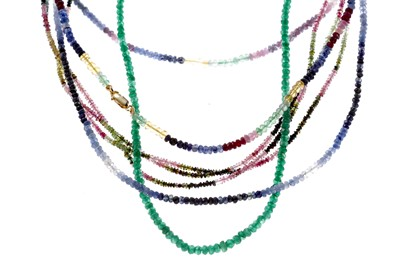 Lot 823 - FOUR BEADED NECKLACES