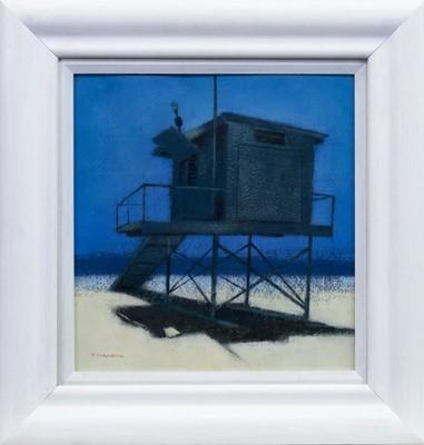 Lot 596 - LOOKOUT STATION, SANTA MONICA BEACH, AN ACRYLIC BY PETER NARDINI