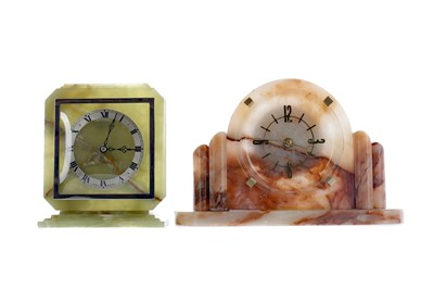Lot 1883 - AN ART DECO ONYX MANTEL CLOCK AND ANOTHER