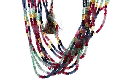 Lot 482 - A MULTI GEMSTONE BEAD NECKLACE