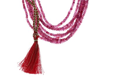 Lot 484 - A BEADED RUBY NECKLACE