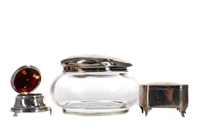 Lot 433 - A SILVER VASE, PERFUME ATOMISER, BOTTLE TWO SILVER BOXES AND A GLASS JAR