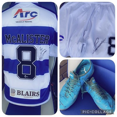 Lot 1 - JIM MCALISTER'S MORTON HOME KIT AND MATCH WORN BOOTS