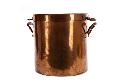 Lot 1655 - A VICTORIAN COPPER HOT WATER BOTTLE, ALONG WITH OTHER COPPER COOKING WARES