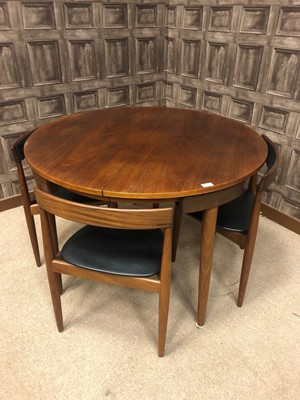Lot 1424 - A DANISH TEAK DINING TABLE AND FOUR CHAIRS BY HANS OLSEN