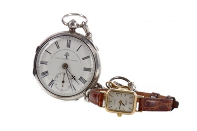 Lot 735 - A SILVER POCKET WATCH AND A GOLD CASED WATCH