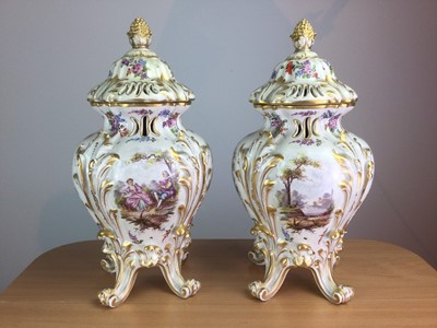 Lot 30 - A PAIR OF LATE 19TH CENTURY HÖCHST PORCELAIN VASES AND COVERS
