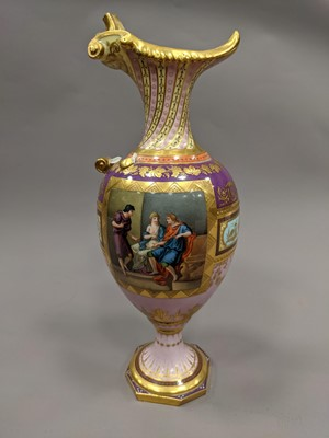 Lot 73 - A LATE 19TH CENTURY VIENNA PORCELAIN EWER AND STAND
