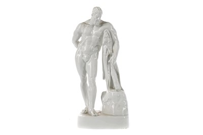Lot 27 - A LATE 19TH CENTURY CONTINENTAL PORCELAIN FIGURE OF THE FARNESE HERCULES