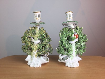 Lot 26 - A PAIR OF EARLY 19TH CENTURY ENGLISH PORCELAIN FIGURAL CANDLESTICKS