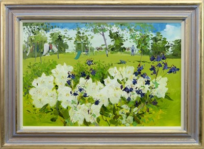 Lot 515 - CLAIRE'S GARDEN, AN OIL BY JAMES HARRIGAN