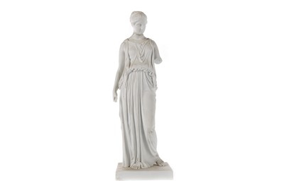Lot 28 - A LATE 19TH CENTURY ROYAL COPENHAGEN BISCUIT PORCELAIN FIGURE OF A CLASSICAL FEMALE