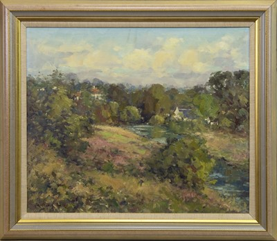Lot 578 - VIEW AT WATERFOOT, AN OIL BY J D HENDERSON