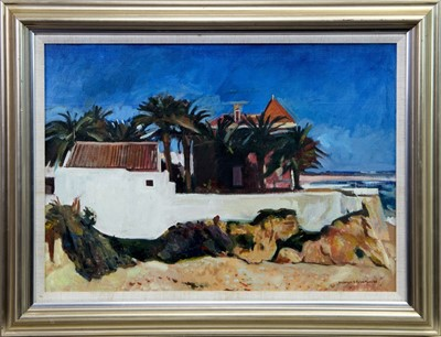 Lot 588 - HOUSE AND PALMS, AN ALGARVE BEACH, AN OIL BY ANDERSON BAIN ROBERTSON