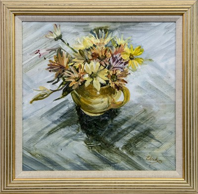 Lot 564 - STILL LIFE WITH FLOWERS, AN OIL BY ELRICK