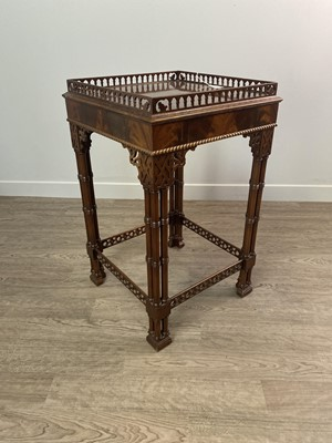 Lot 1601 - A CHIPPENDALE STYLE MAHOGANY SILVER TABLE