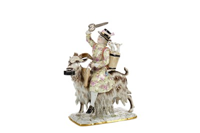Lot 1039 - A 19TH CENTURY MEISSEN FIGURE OF COUNT BRUHL'S TAILOR