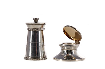 Lot 446 - A SILVER CAPSTAN STYLE INKWELL