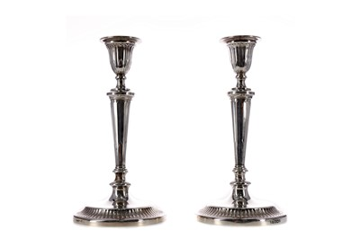 Lot 449 - A PAIR OF ADAM STYLE SILVER CANDLESTICKS