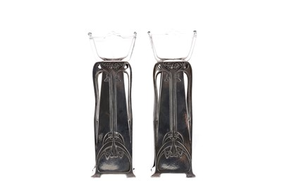 Lot 452 - A PAIR OF WMF ART NOUVEAU SILVER PLATED BUD VASES
