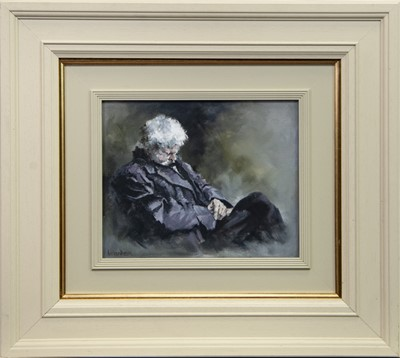 Lot 549 - RESTING- MAN OF THE WOOD, AN OIL BY COLIN WARDEN