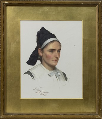 Lot 2 - DUTCH GIRL, A GOUACHE BY JAMES HAYLLAR