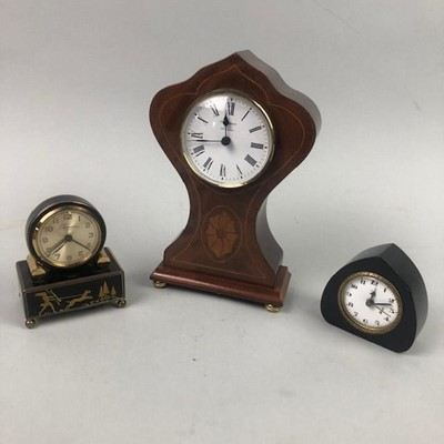 Lot 63 - AN EARLY 20TH CENTURY ENAMEL CLOCK AND TWO OTHER CLOCKS