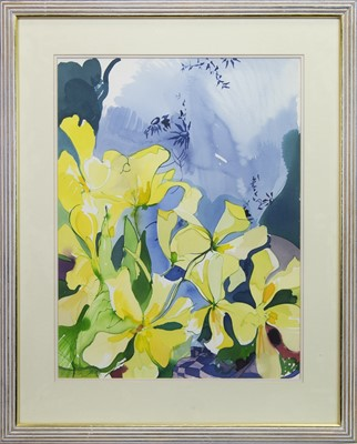 Lot 560 - STILL LIFE WITH YELLOW FLOWERS, A WATERCOLOUR BY JENNIE TUFFS