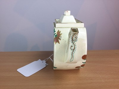 Lot 69 - A WEDGWOOD AESTHETIC MOVEMENT EARTHENWARE TEAPOT AND COVER