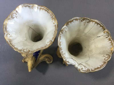 Lot 59 - A PAIR OF EARLY 19TH CENTURY ENGLISH PORCELAIN VASES, ALONG WITH ANOTHER PAIR AND ONE OTHER