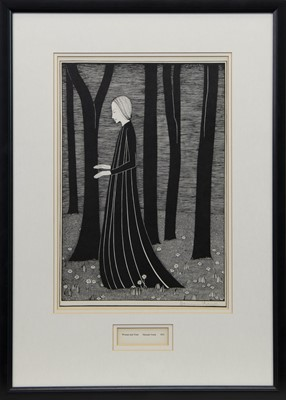 Lot 601 - WOMAN AND TREES, A LITHOGRAPH BY HANNAH FRANK