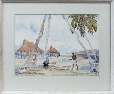 Lot 6 - VILLAGE SCENE ON THE NEW GUINEA ISLAND OF NOEMFOOR, A WATERCOLOUR BY DIANA ESMOND