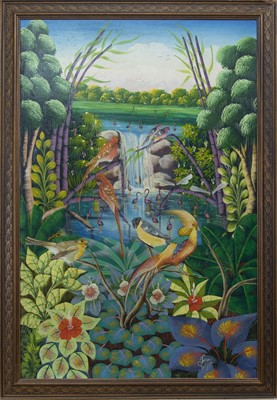Lot 8 - EXOTIC BIRDS IN A STYLISED LANDSCAPE, AN OIL BY JOSE ANTIGUA