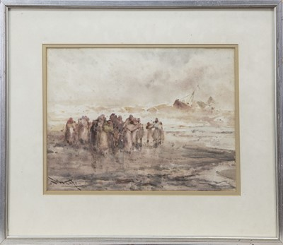 Lot 14 - FIGURES ON THE SHORE, A WATERCOLOUR BY FRANK WASLEY