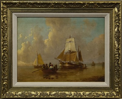 Lot 19 - BOATS IN CALM WATERS, A 20TH CENTURY DUTCH OIL