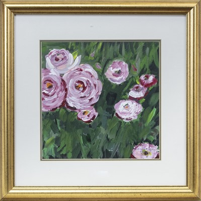 Lot 24 - PINK ROSES, AN OIL BY L D JAMIESON