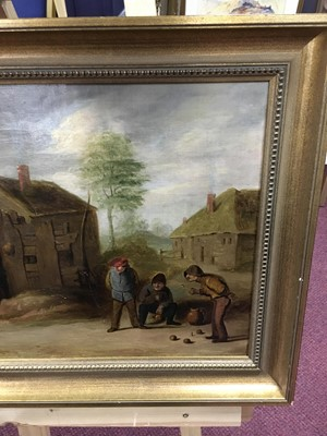 Lot 3 - FIGURES PLAYING BOWLS, AN OIL AFTER DAVID TENIERS