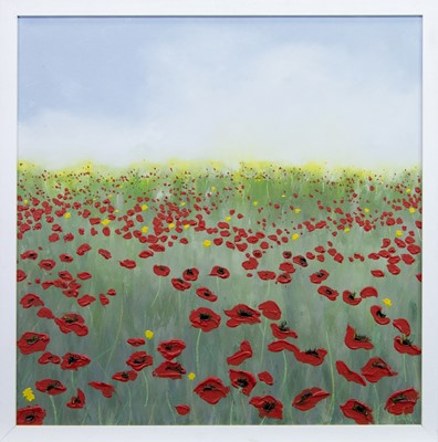 Lot 618 - A FIELD OF POPPIES/POPPY LANDSCAPE, AN OIL BY KATRIONA SHALE