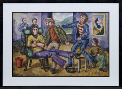 Lot 629 - FAMILY REUNION, AN OIL BY PETER HOWSON