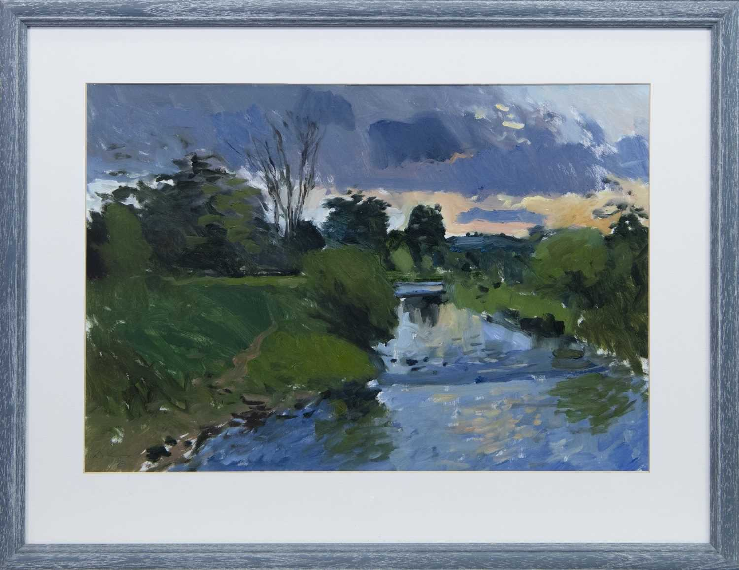 Lot 589 - OVER THE RIVER, AN OIL BY DOUGLAS LENNOX