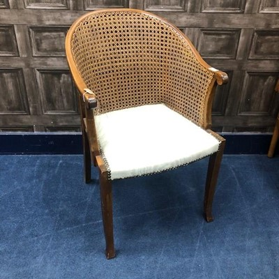 Lot 6 - A CANE PANELLED ARMCHAIR