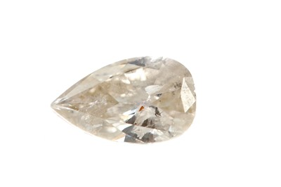 Lot 379 - AN UNMOUNTED PEAR SHAPED DIAMOND