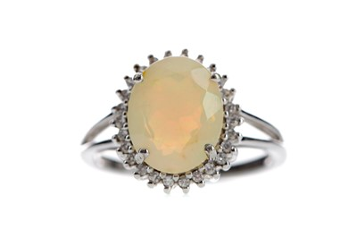 Lot 488 - AN OPAL AND DIAMOND RING