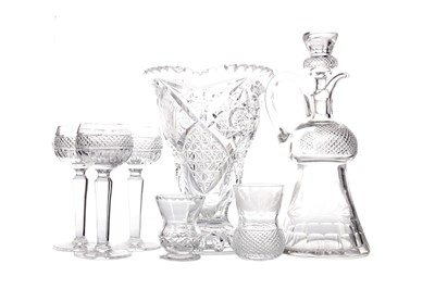 Lot 1057 - AN EARLY 20TH CENTURY CUT GLASS CLARET JUG AND STOPPER, ALONG WITH FIVE HOCK GLASSES, TWO TUMBLERS AND A VASE