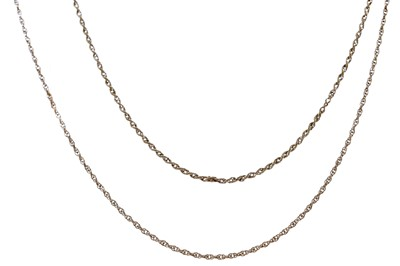 Lot 529 - TWO BROKEN GOLD CHAINS