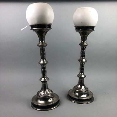 Lot 13 - A PAIR OF SILVERED ALTAR CANDLESTICKS